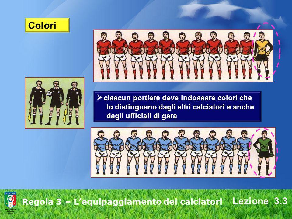 Lezione 3.3 Regola 3 – Lequipaggiamento dei calciatori Colori ciascun portiere deve indossare colori che lo distinguano dagli altri calciatori e anche