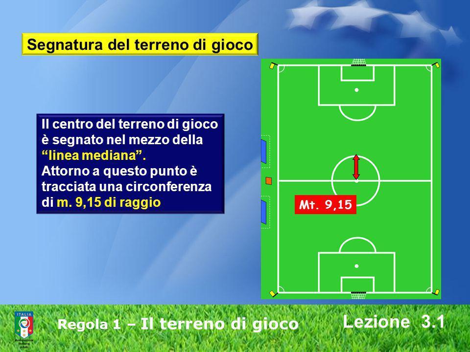 Regola 1 – Il terreno di gioco Lezione 3.1 Il centro del terreno di gioco è segnato nel mezzo della linea mediana. Attorno a questo punto è tracciata