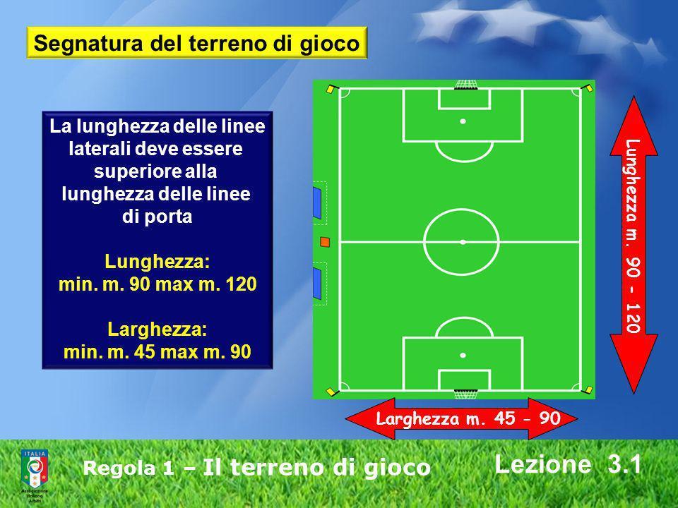 Regola 1 – Il terreno di gioco Lezione 3.1 La lunghezza delle linee laterali deve essere superiore alla lunghezza delle linee di porta Lunghezza: min.