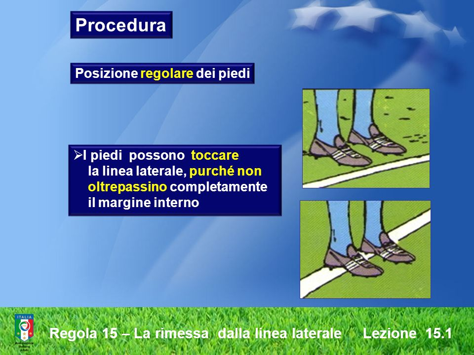Regola 15 – La rimessa dalla linea laterale Lezione 15.1 Posizione regolare dei piedi I piedi possono toccare la linea laterale, purché non oltrepassi