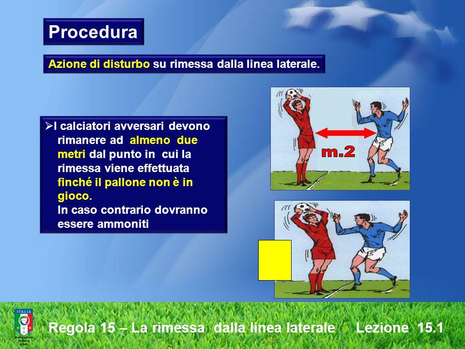 Regola 15 – La rimessa dalla linea laterale Lezione 15.1 Azione di disturbo su rimessa dalla linea laterale. I calciatori avversari devono rimanere ad