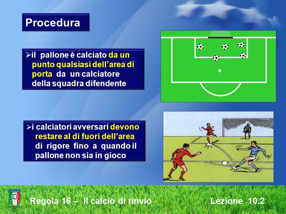 Regola 16 – Il calcio di rinvio Lezione 10.2 Procedura i calciatori avversari devono restare al di fuori dellarea di rigore fino a quando il pallone n