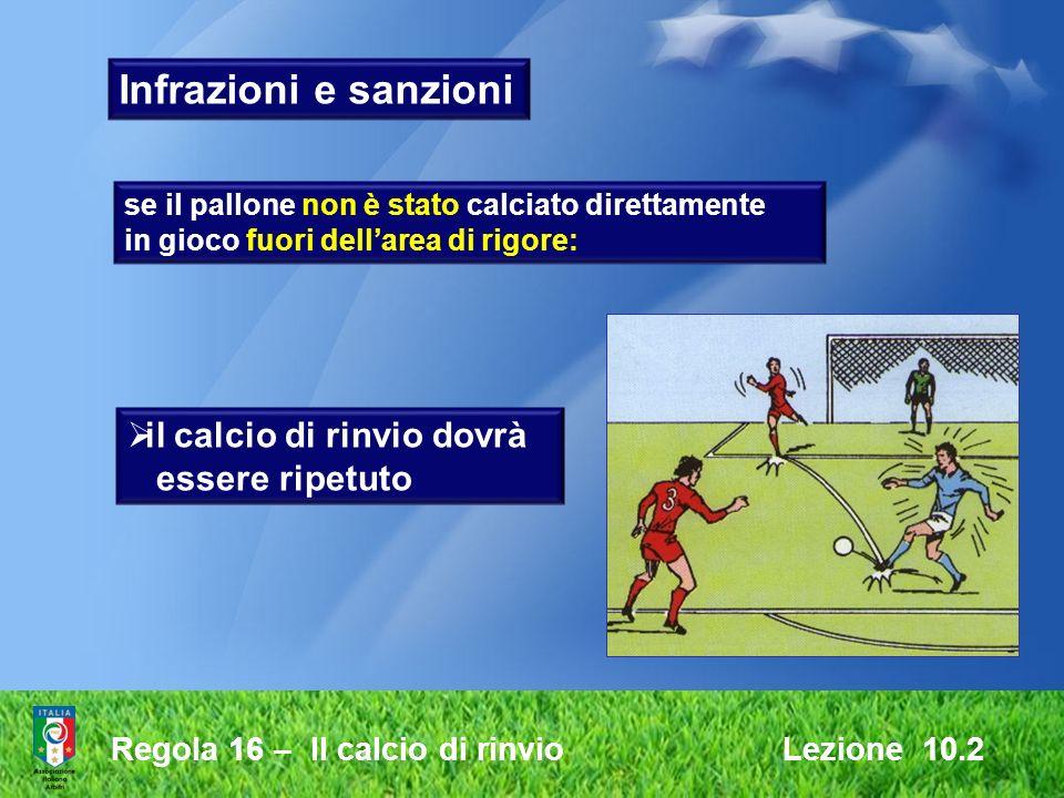 Regola 16 – Il calcio di rinvio Lezione 10.2 Infrazioni e sanzioni se il pallone non è stato calciato direttamente in gioco fuori dellarea di rigore: