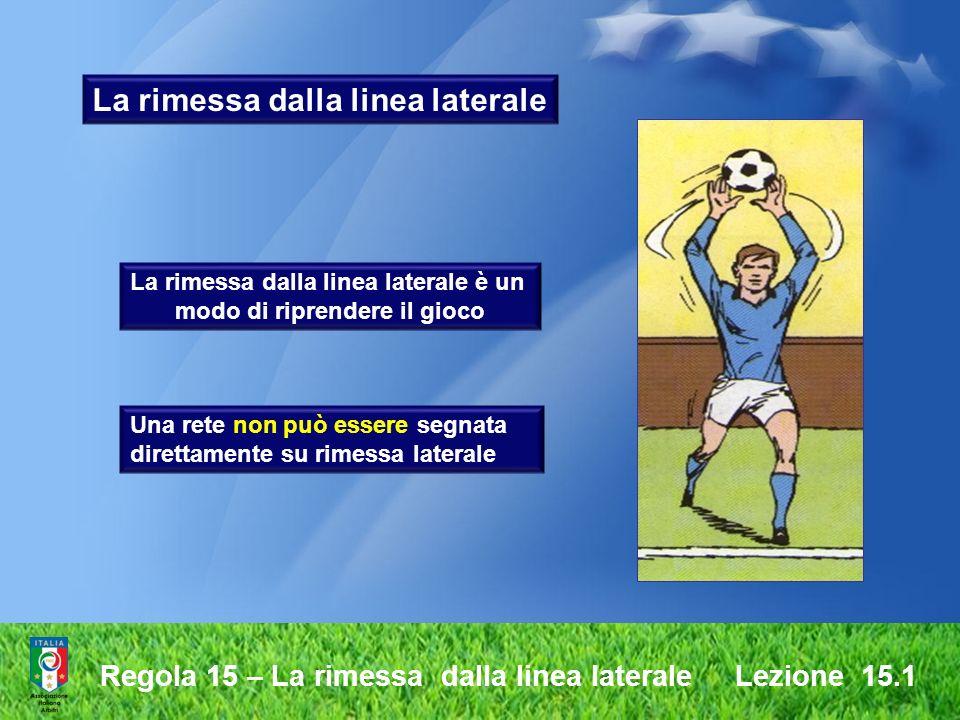 Regola 15 – La rimessa dalla linea laterale Lezione 15.1 La rimessa dalla linea laterale La rimessa dalla linea laterale è un modo di riprendere il gi