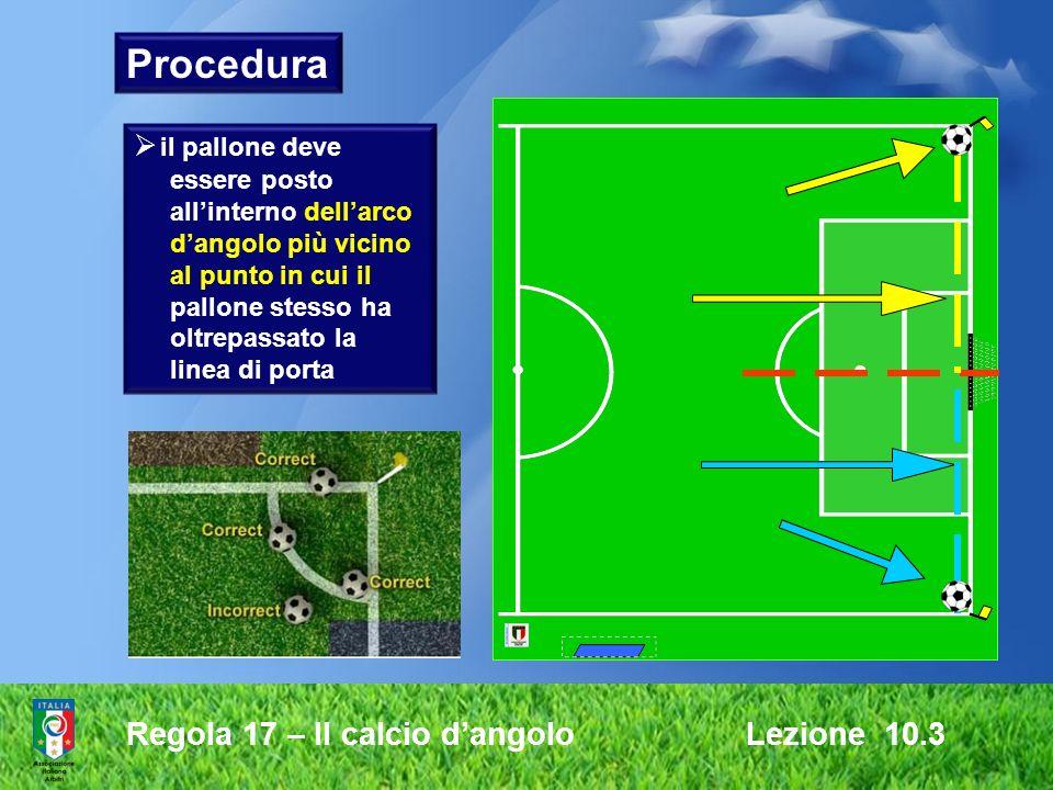 Regola 17 – Il calcio dangolo Lezione 10.3 Procedura il pallone deve essere posto allinterno dellarco dangolo più vicino al punto in cui il pallone st