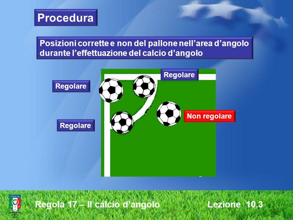 Regola 17 – Il calcio dangolo Lezione 10.3 Non regolare Regolare Posizioni corrette e non del pallone nellarea dangolo durante leffettuazione del calc