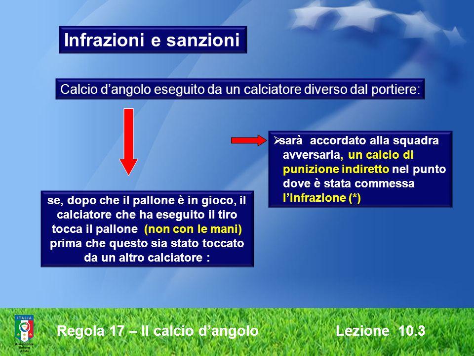 Regola 17 – Il calcio dangolo Lezione 10.3 Infrazioni e sanzioni Calcio dangolo eseguito da un calciatore diverso dal portiere: se, dopo che il pallon