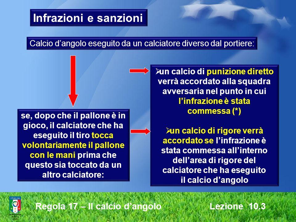 Regola 17 – Il calcio dangolo Lezione 10.3 Infrazioni e sanzioni se, dopo che il pallone è in gioco, il calciatore che ha eseguito il tiro tocca volon