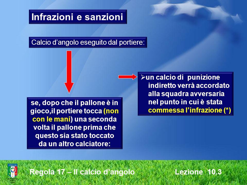 Regola 17 – Il calcio dangolo Lezione 10.3 Infrazioni e sanzioni Calcio dangolo eseguito dal portiere: se, dopo che il pallone è in gioco,il portiere