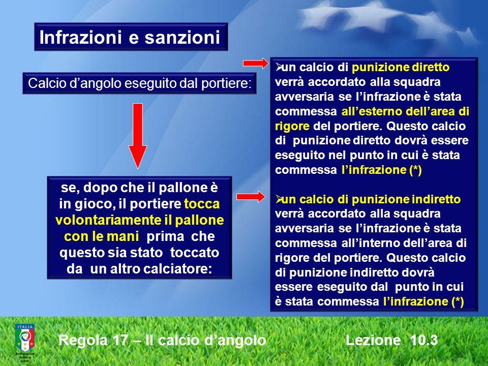 Regola 17 – Il calcio dangolo Lezione 10.3 Lezione 10.3 Infrazioni e sanzioni Calcio dangolo eseguito dal portiere: se, dopo che il pallone è in gioco