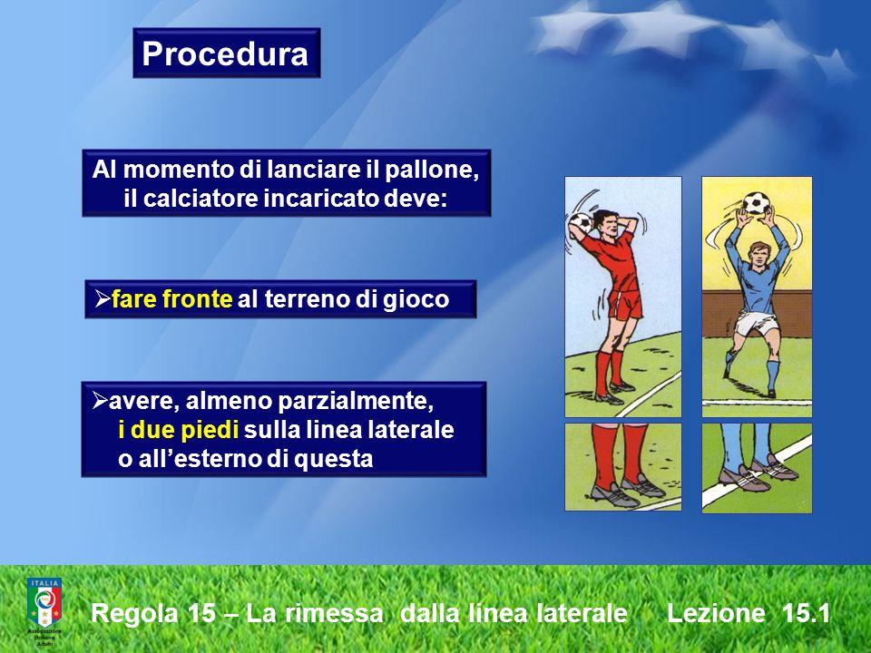 Regola 15 – La rimessa dalla linea laterale Lezione 15.1 Procedura tenere il pallone con entrambe le mani lanciare il pallone da dietro la nuca ed al di sopra della testa lanciare il pallone dal punto in cui è uscito dal terreno di gioco Al momento di lanciare il pallone, il calciatore incaricato deve: