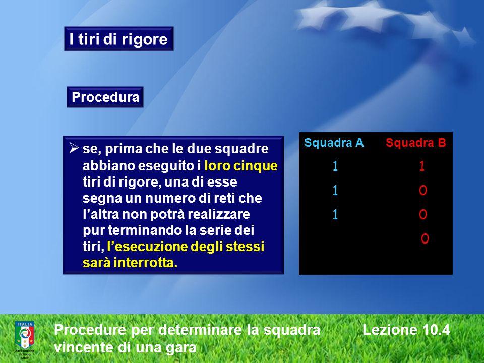 Procedure per determinare la squadra Lezione 10.4 vincente di una gara I tiri di rigore Procedura se, prima che le due squadre abbiano eseguito i loro