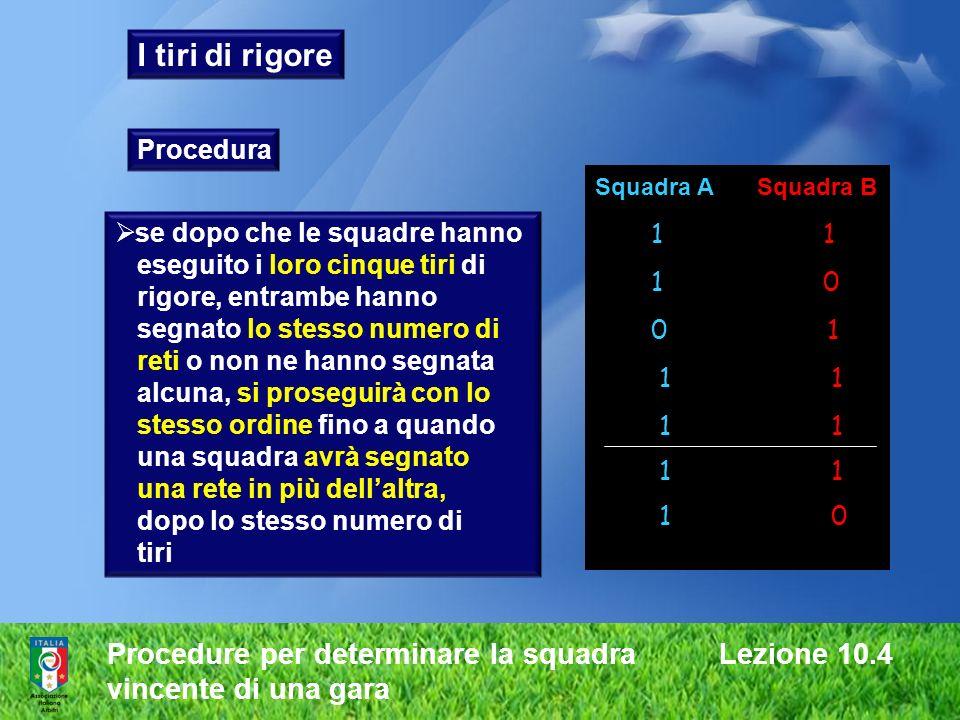 Procedure per determinare la squadra Lezione 10.4 vincente di una gara I tiri di rigore Procedura se dopo che le squadre hanno eseguito i loro cinque