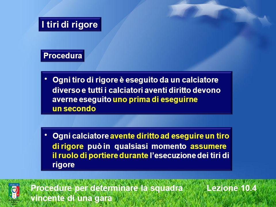 Procedure per determinare la squadra Lezione 10.4 vincente di una gara I tiri di rigore Procedura Ogni tiro di rigore è eseguito da un calciatore dive