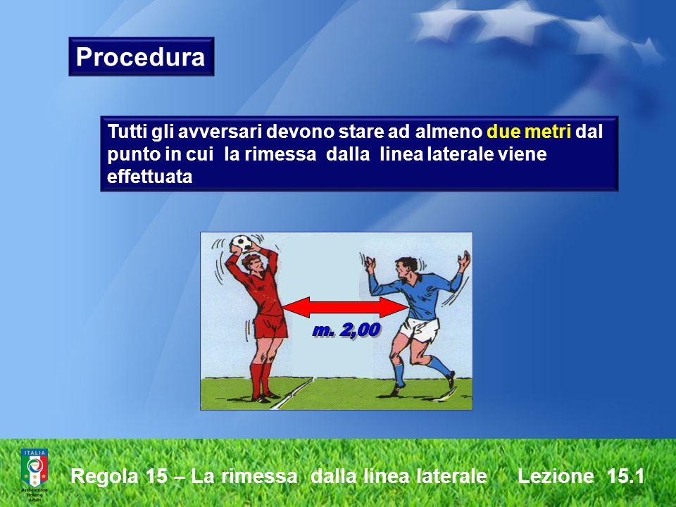 Regola 15 – La rimessa dalla linea laterale Lezione 15.1 il pallone è in gioco nellistante in cui entra sul terreno di gioco il calciatore che ha eseguito la rimessa non deve toccare di nuovo il pallone prima che lo stesso sia stato toccato da un altro calciatore.
