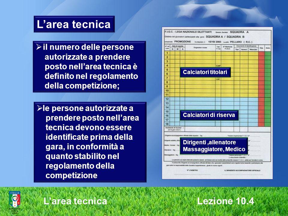 Larea tecnica Lezione 10.4 Larea tecnica il numero delle persone autorizzate a prendere posto nellarea tecnica è definito nel regolamento della compet