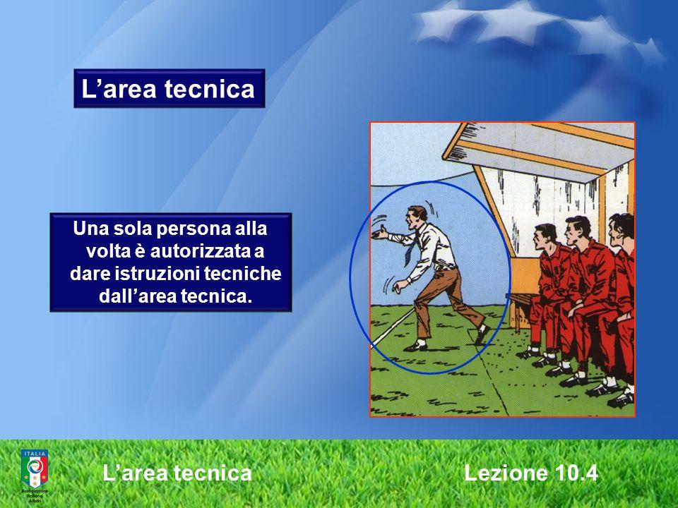 Larea tecnica Lezione 10.4 Larea tecnica Una sola persona alla volta è autorizzata a dare istruzioni tecniche dallarea tecnica.