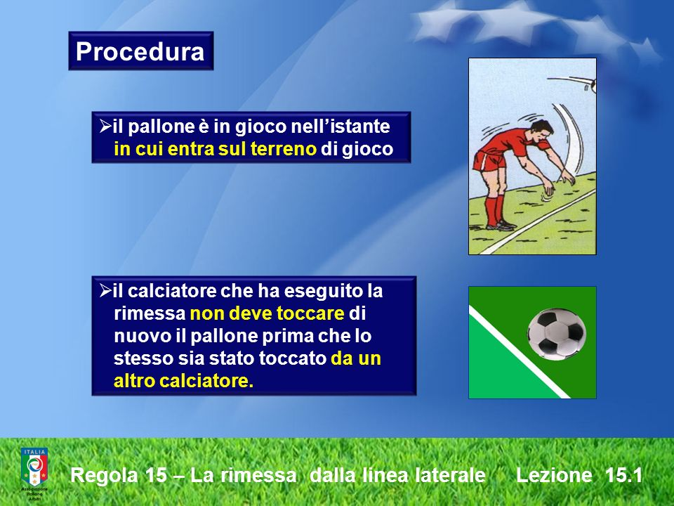Regola 17 – Il calcio dangolo Lezione 10.3 il calciatore che ha eseguito il calcio dangolo non deve toccare il pallone di nuovo prima che questo sia stato toccato da un altro calciatore Procedura