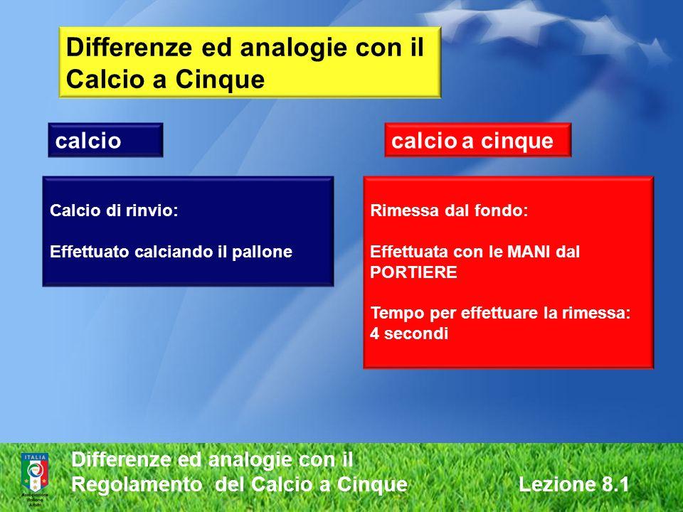 Differenze ed analogie con il Regolamento del Calcio a Cinque Lezione 8.1 Differenze ed analogie con il Calcio a Cinque calciocalcio a cinque Calcio d