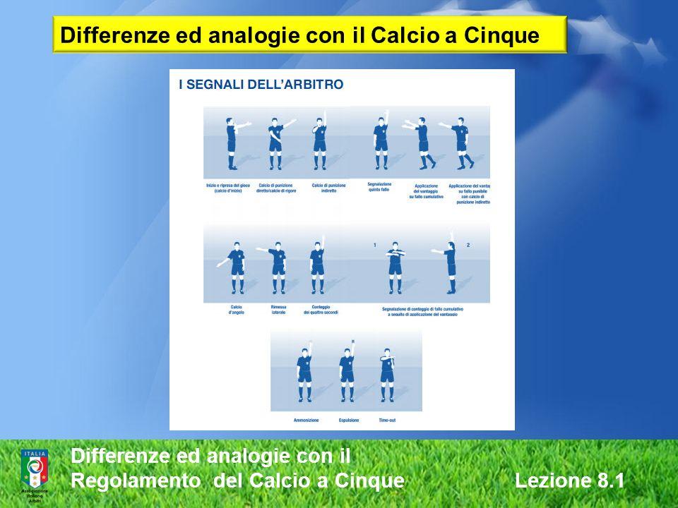 Differenze ed analogie con il Regolamento del Calcio a Cinque Lezione 8.1 Differenze ed analogie con il Calcio a Cinque