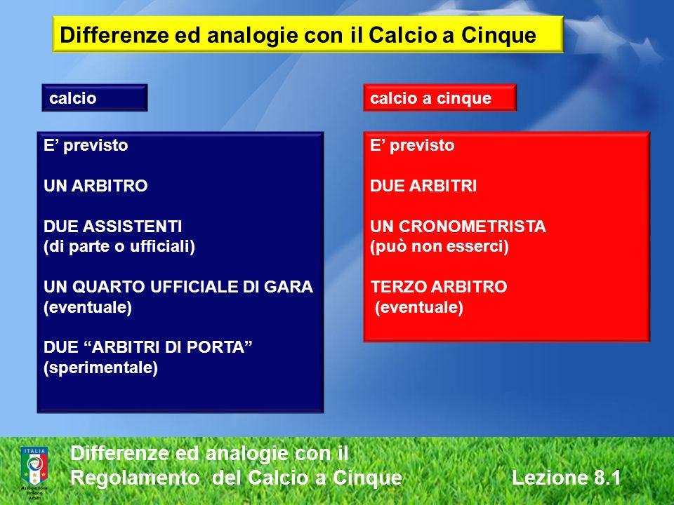 Differenze ed analogie con il Regolamento del Calcio a Cinque Lezione 8.1 calciocalcio a cinque E previsto UN ARBITRO DUE ASSISTENTI (di parte o uffic