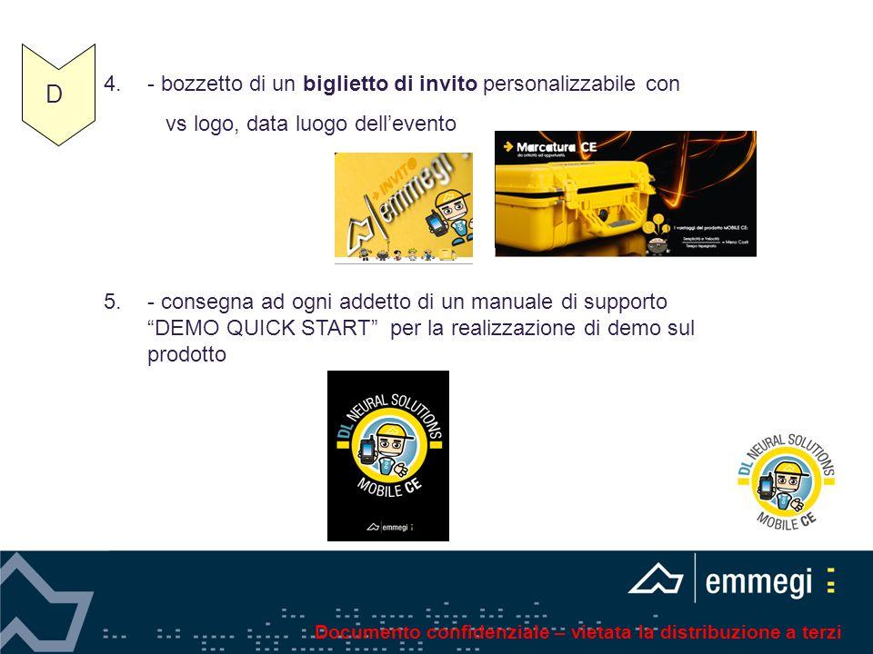 4.- bozzetto di un biglietto di invito personalizzabile con vs logo, data luogo dellevento 5.- consegna ad ogni addetto di un manuale di supporto DEMO