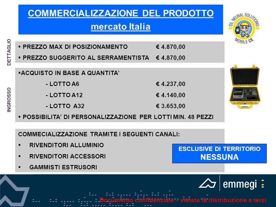 COMMERCIALIZZAZIONE DEL PRODOTTO mercato Italia ACQUISTO IN BASE A QUANTITA - LOTTO A6 4.237,00 - LOTTO A12 4.140,00 - LOTTO A32 3.653,00 POSSIBILITA