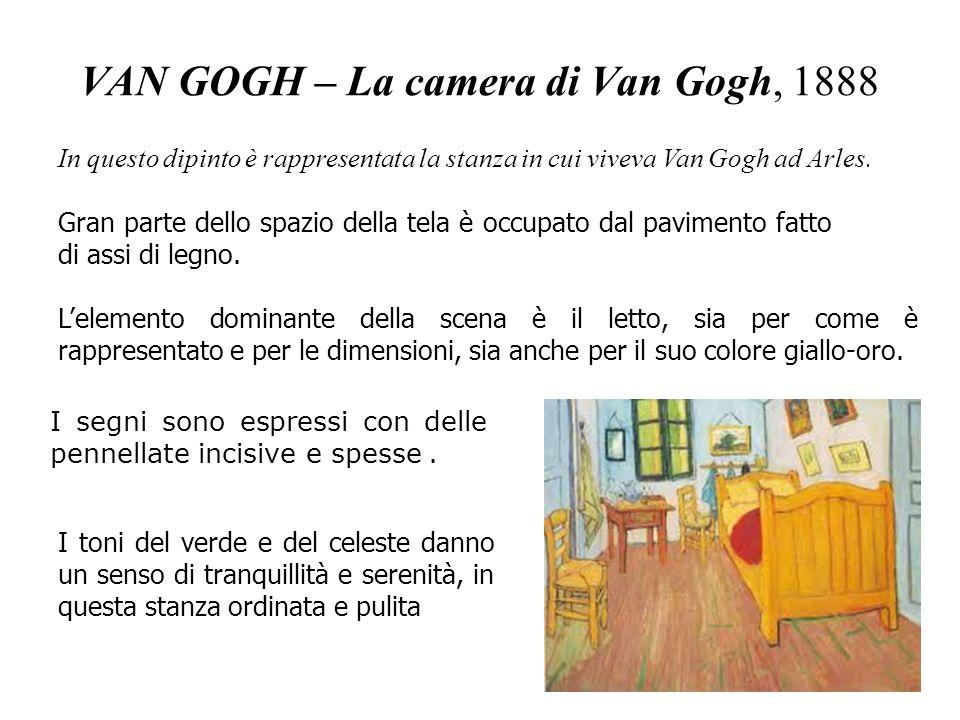 VAN GOGH – La camera di Van Gogh, 1888 In questo dipinto è rappresentata la stanza in cui viveva Van Gogh ad Arles. Gran parte dello spazio della tela