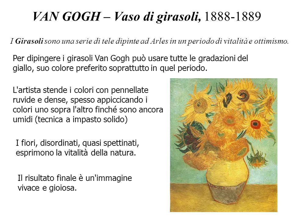 VAN GOGH – Vaso di girasoli, 1888-1889 I Girasoli sono una serie di tele dipinte ad Arles in un periodo di vitalità e ottimismo. L'artista stende i co