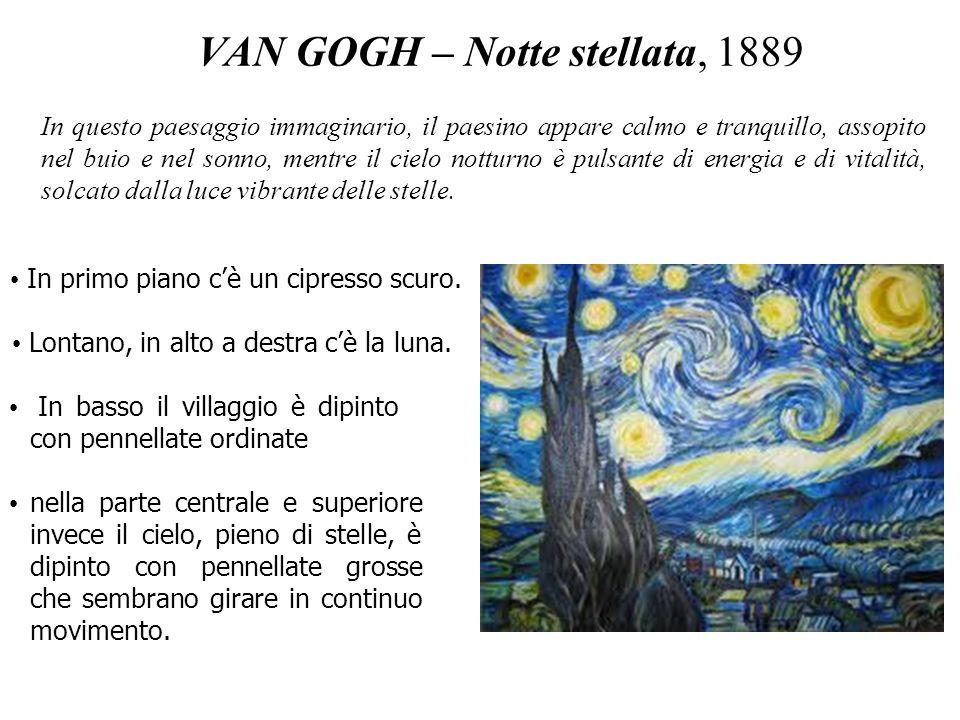 VAN GOGH – Notte stellata, 1889 In primo piano cè un cipresso scuro. Lontano, in alto a destra cè la luna. In basso il villaggio è dipinto con pennell