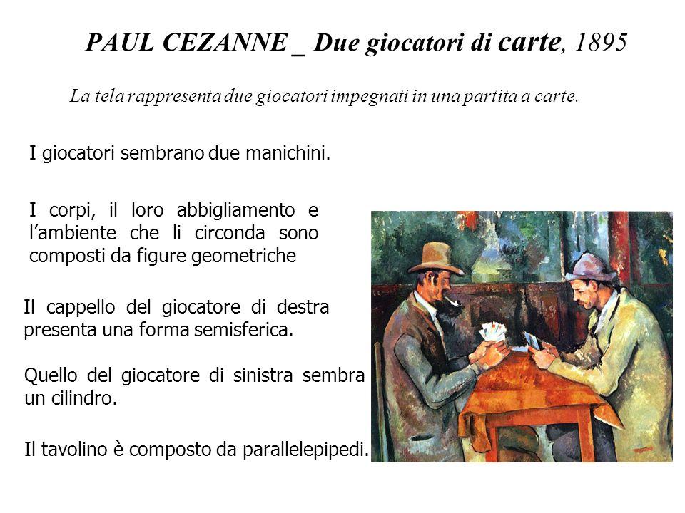 PAUL CEZANNE _ Due giocatori di carte, 1895 I giocatori sembrano due manichini. I corpi, il loro abbigliamento e lambiente che li circonda sono compos