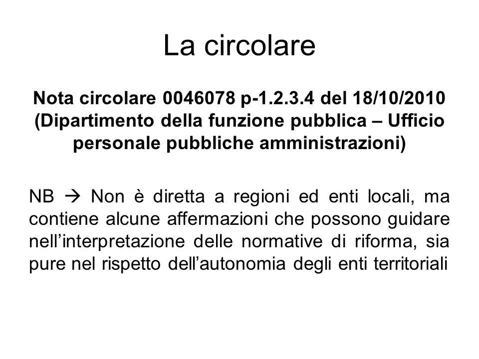 La circolare Nota circolare 0046078 p-1.2.3.4 del 18/10/2010 (Dipartimento della funzione pubblica – Ufficio personale pubbliche amministrazioni) NB N