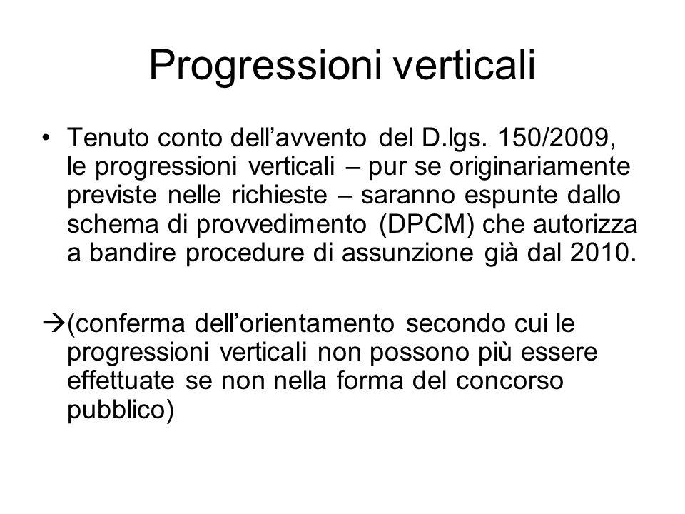 Progressioni verticali Tenuto conto dellavvento del D.lgs. 150/2009, le progressioni verticali – pur se originariamente previste nelle richieste – sar
