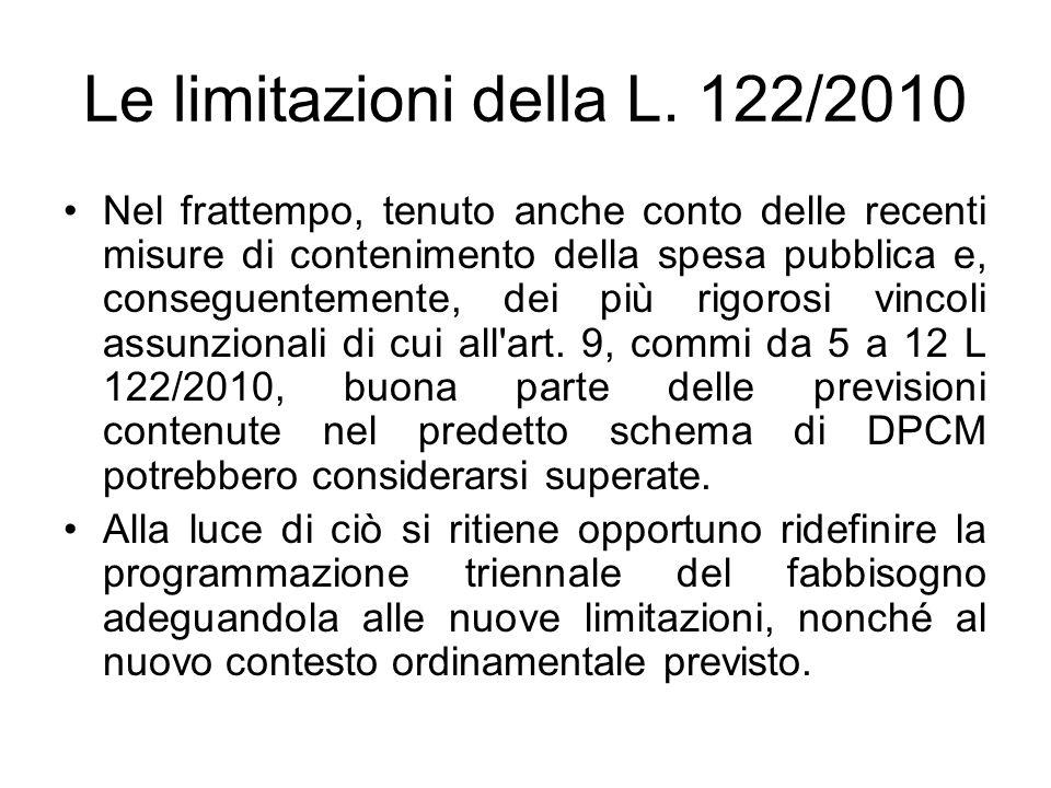 Le limitazioni della L. 122/2010 Nel frattempo, tenuto anche conto delle recenti misure di contenimento della spesa pubblica e, conseguentemente, dei