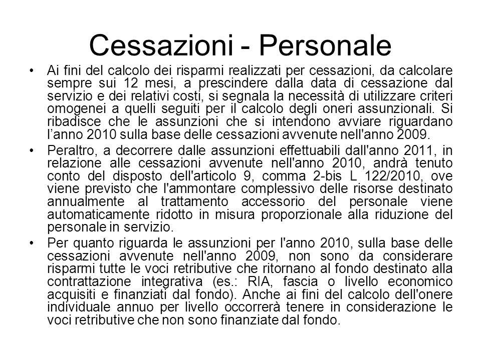 Cessazioni - Personale Ai fini del calcolo dei risparmi realizzati per cessazioni, da calcolare sempre sui 12 mesi, a prescindere dalla data di cessaz
