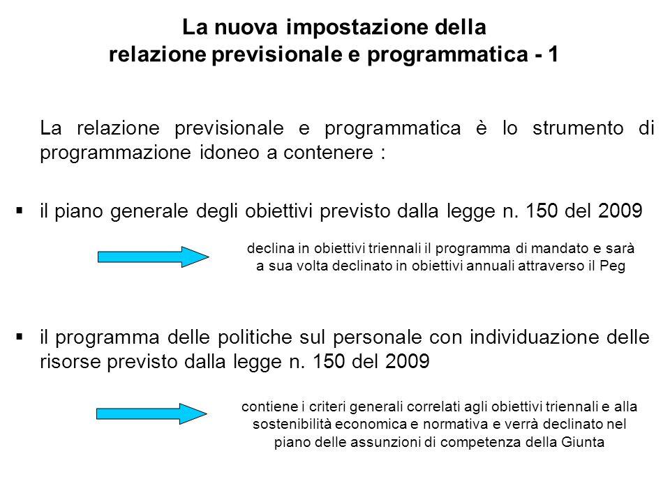 La nuova impostazione della relazione previsionale e programmatica - 1 La relazione previsionale e programmatica è lo strumento di programmazione idoneo a contenere : il piano generale degli obiettivi previsto dalla legge n.