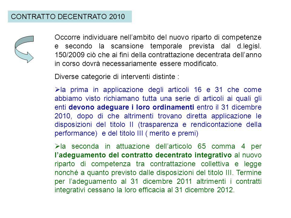 CONTRATTO DECENTRATO 2010 Occorre individuare nellambito del nuovo riparto di competenze e secondo la scansione temporale prevista dal d.legisl. 150/2