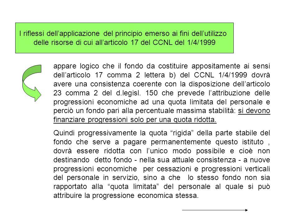 I riflessi dellapplicazione del principio emerso ai fini dellutilizzo delle risorse di cui allarticolo 17 del CCNL del 1/4/1999 appare logico che il f