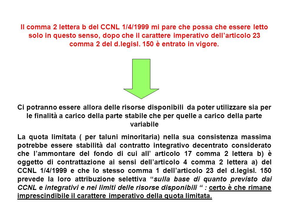 Il comma 2 lettera b del CCNL 1/4/1999 mi pare che possa che essere letto solo in questo senso, dopo che il carattere imperativo dellarticolo 23 comma