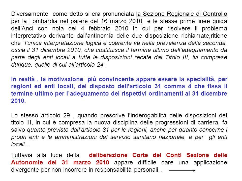 Diversamente come detto si era pronunciata la Sezione Regionale di Controllo per la Lombardia nel parere del 16 marzo 2010 e le stesse prime linee gui