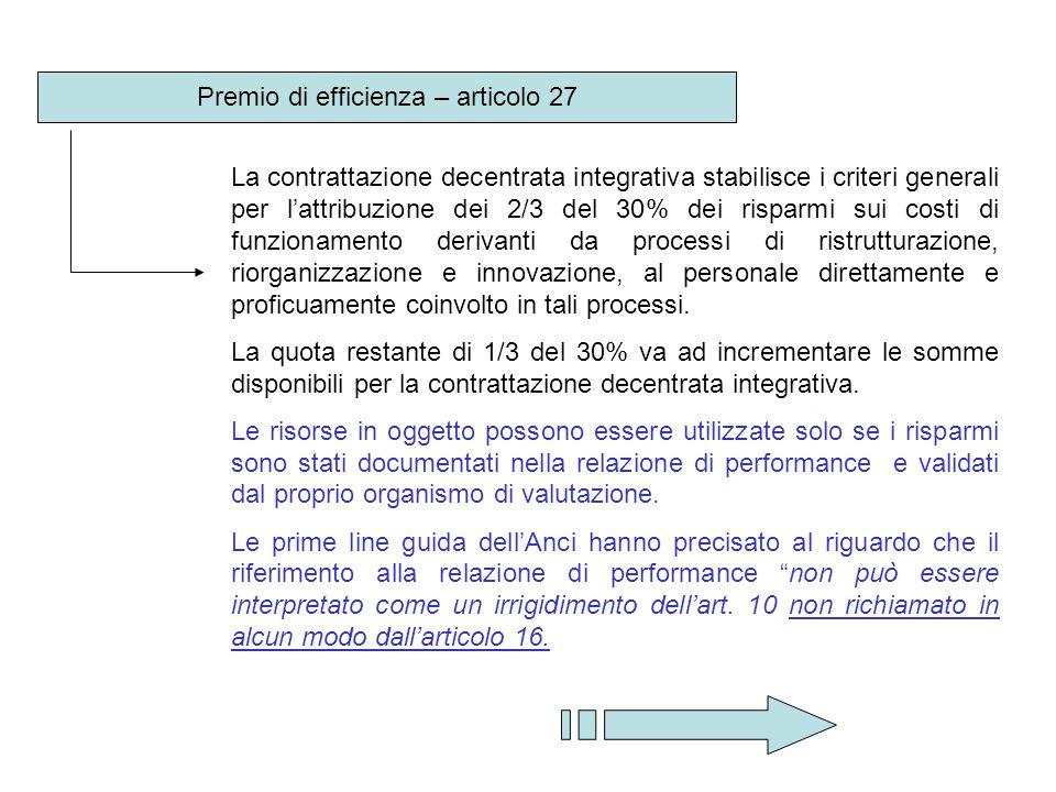 Premio di efficienza – articolo 27 La contrattazione decentrata integrativa stabilisce i criteri generali per lattribuzione dei 2/3 del 30% dei rispar