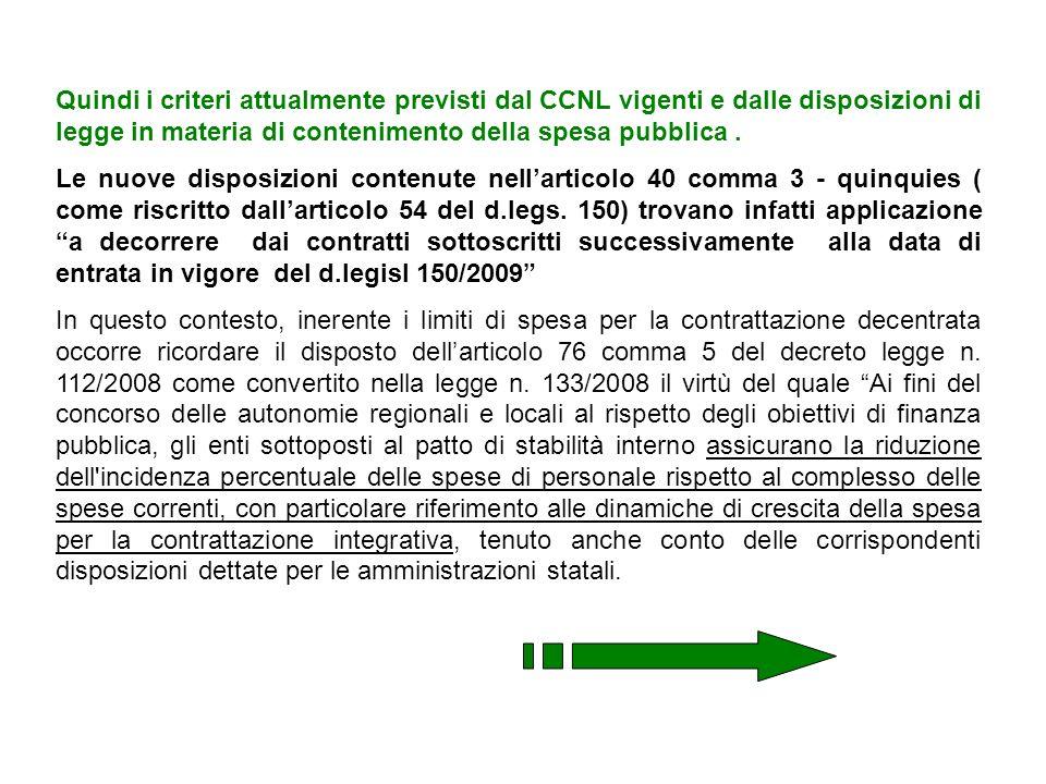 Quindi i criteri attualmente previsti dal CCNL vigenti e dalle disposizioni di legge in materia di contenimento della spesa pubblica. Le nuove disposi