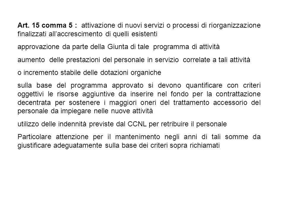 Art. 15 comma 5 : attivazione di nuovi servizi o processi di riorganizzazione finalizzati allaccrescimento di quelli esistenti approvazione da parte d