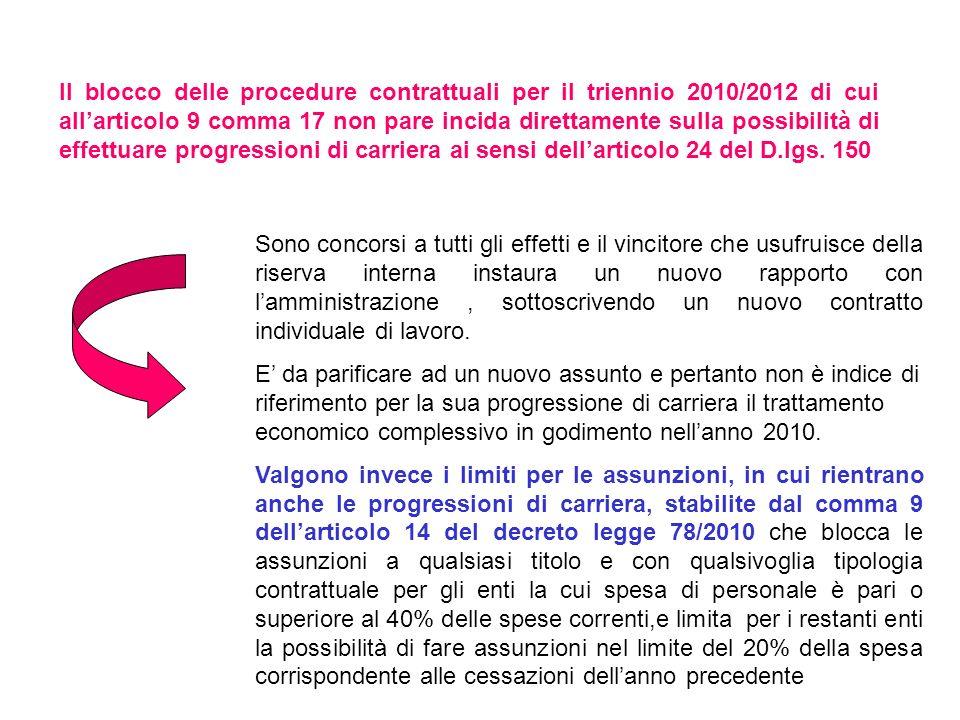 Il blocco delle procedure contrattuali per il triennio 2010/2012 di cui allarticolo 9 comma 17 non pare incida direttamente sulla possibilità di effet