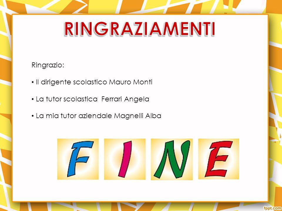 Ringrazio: Il dirigente scolastico Mauro Monti La tutor scolastica Ferrari Angela La mia tutor aziendale Magnelli Alba
