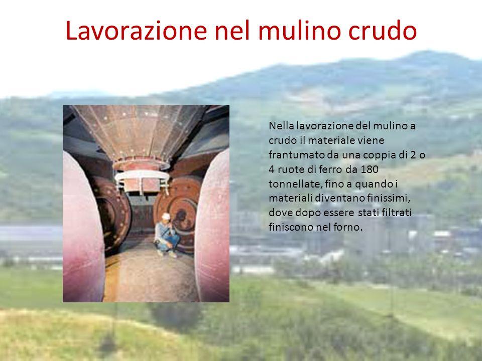 Lavorazione nel mulino crudo Nella lavorazione del mulino a crudo il materiale viene frantumato da una coppia di 2 o 4 ruote di ferro da 180 tonnellat