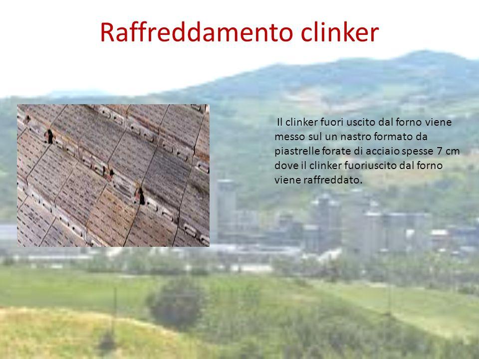 Raffreddamento clinker Il clinker fuori uscito dal forno viene messo sul un nastro formato da piastrelle forate di acciaio spesse 7 cm dove il clinker