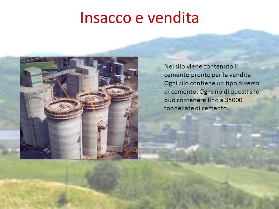 Insacco e vendita Nel silo viene contenuto il cemento pronto per la vendita. Ogni silo contiene un tipo diverso di cemento. Ognuno di questi silo può