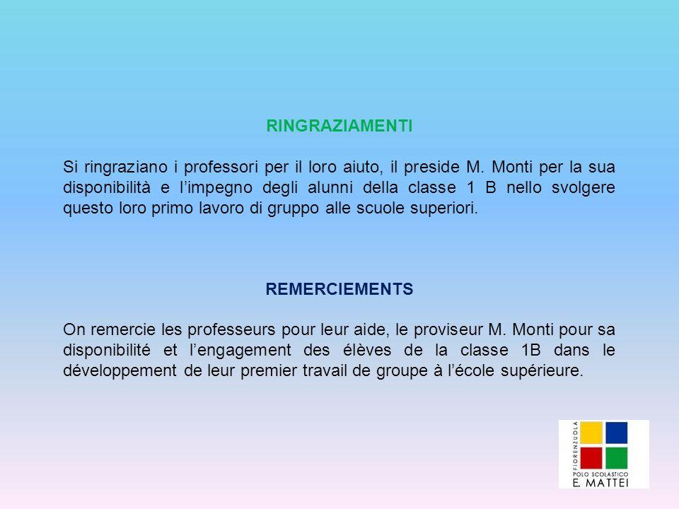 RINGRAZIAMENTI Si ringraziano i professori per il loro aiuto, il preside M. Monti per la sua disponibilità e limpegno degli alunni della classe 1 B ne