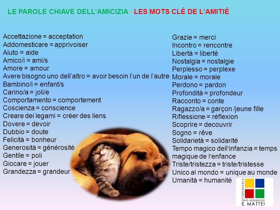 LE PAROLE CHIAVE DELLAMICIZIA - LES MOTS CLÉ DE LAMITIÉ Accettazione = acceptation Addomesticare = apprivoiser Aiuto = aide Amico/i = ami/s Amore = am